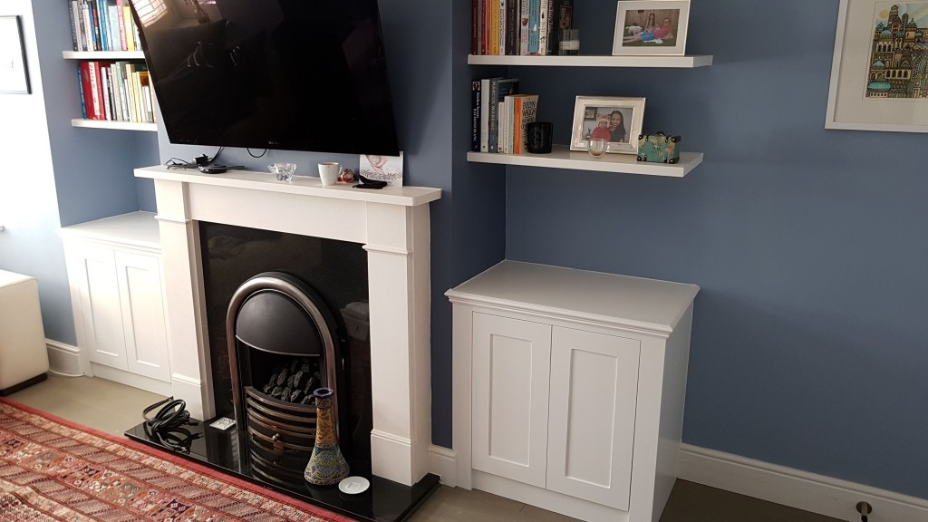 Two shaker alcove cabinets