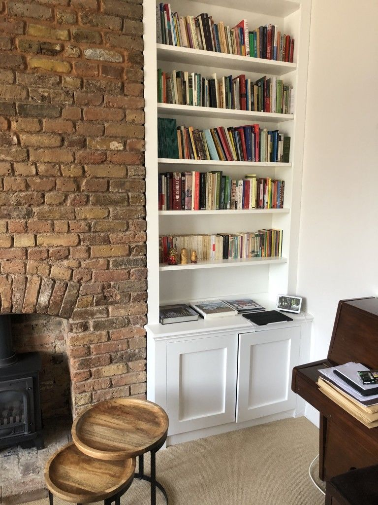 Alcove units with brick wall contrast